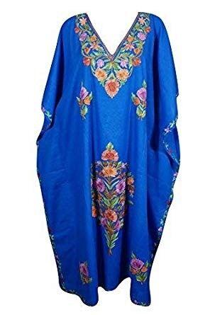 e10cd2ee243 Womens Kaftan Maxi Dresses Bohemian Embroidered Resort Caftan Dress OneSize
