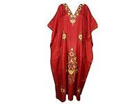 Womens Kaftan Chilli Red Kashmiri Embroidered Boho Caftan Dress