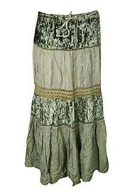 Womans Skirt Velvet Lace Embroidered Tiered Medieval Maxi Skirts