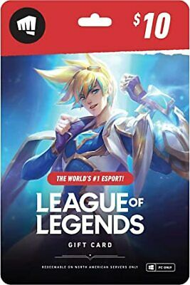 League Of Legends Gift Card RP Riot Points $10 Dollar Value Physical NA ONLY