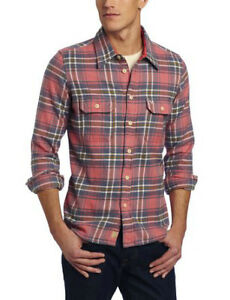 "TRUE RELIGION Mens ""Faded Coral"" Plaid Flannel Workwear Shirt"