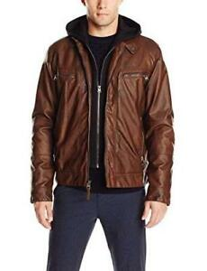 NEW Calvin Klein Men's Faux-Leather Moto Jacket with Hoodie Condtion: New, Small, Brown