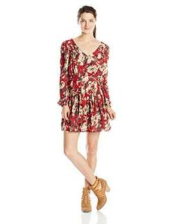 MIss Me Juniors Floral  Print Long Sleeve Dress, Small-Brand New