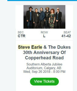 Steve Earle Tickets - Wednesday Sept 26