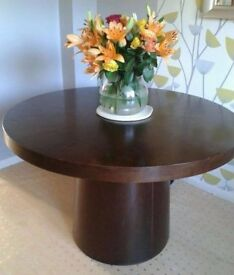 Dark wood veneer round table with pedestal, seats 6 [not 4 as shown] Chairs now sold