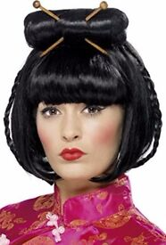 GEISHA GIRL / ORIENTAL FANCY DRESS WIG GREAT FOR A PARTY ALSO HAVE DRESS FOR SALE