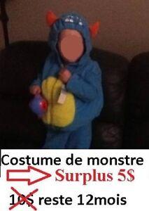 Costume enfant de monstre neuf 12 mois