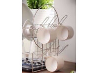 New Stainless Steel Chrome Look Removable Dish Drainer Rack 6 Glasses/Cups Holder.