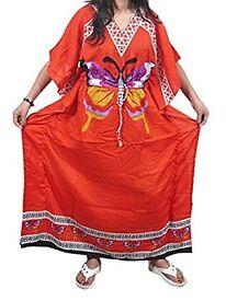Mogul Interior Womens Bohemian Caftan Orange Butterfly Printed Maxi Dress