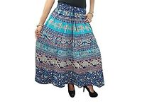 Mogul Interior Women's Maxi Skirt Vegetables Dyes Chic One Size Blue