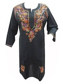 Mogul Interior Women's Tunic Floral Hand Embroidered Black Cotton Ethnic Dress S