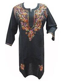 Mogul Interior Women's Tunic Floral Hand Embroidered Black Cotton Ethnic Dress S