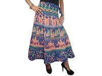 Mogul Interior Bohemian Maxi Skirt Wrap Around Peacock Blue Printed Hippie