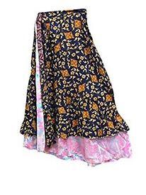 Mogul Interior Womens Wrap Skirt Two Layer Blue Printed Silk Sari Magic Wrap Around Skirt