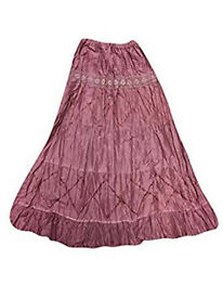 Womens Long Skirts Pink Lacework Gypsy Maxi Skirts