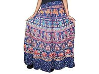 Mogul Interior Women's Skirt Printed Hippy Peasant Maxi One Size Blue