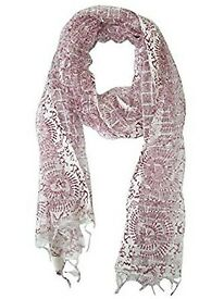 Mogul Interior Women's Scarves- Pattern Wrap Scarf Large White/Dark Red