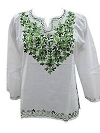 Womens Tunic Top Green Embroidered Cotton Peasant Blouse