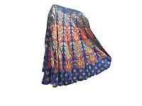 Mogul Interior Womens Wrap Around Skirt Ethnic Printed Blue Indian Boho Beach Dress One Size