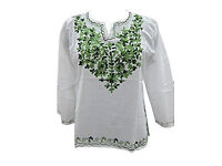 Women's Tunic Top Hand Neck Embroidered White/Green Ethnic Blouse Shirt