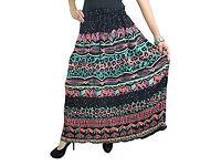 Womens Gothic Skirt Black Printed Rayon Flare Boho Maxi Skirts