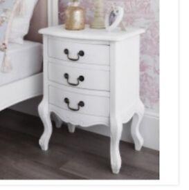 Juliette White 3 Drawer Bedside Table x2