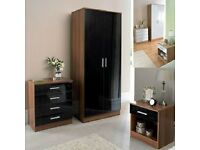 BRAND NEW High gloss bedroom set (2 door wardrobe chest of drawers and bedside)**SAME/NXT DAY DEL**
