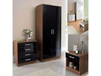 **100% GUARANTEED PRICE!**BRAND NEW-High Gloss Bedroom Set-Wardrobe-Chest-Bedside-Same Day Delivery