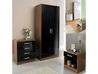 **7-DAY MONEY BACK GUARANTEE!* Marconie High Gloss Wardrobe Set w/ Chest and Side Table- BLACK/WHITE