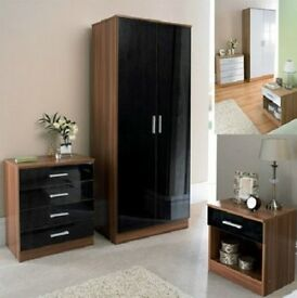 BRAND NEW- High Gloss Wardrobe Set with Chest of drawer and Side Table-- SAME/NEXT DAY DELIVERY!