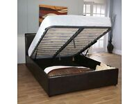 BRAND NEW- TOP QUALITY LEATHER BED == DOUBLE OTTOMAN STORAGE LEATHER BED FRAME BLACK OR BROWN