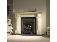 fireplace cream marble stone complete with cast iron and black granite hearth