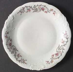Flair china by Walbrzych, gray scrolls/floral 32 pieces