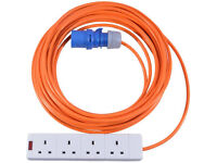 25m Caravan Electric Hook Up Cable 16A to 13A Extension Lead 4 Way Adaptor Mains