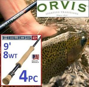 NEW 4PC ORVIS 9' FLY FISHING ROD 7A805157 199879708 HELIOS 2 TIP FLEX 8WT