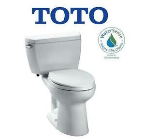 NEW TOTO DRAKE ECO TOILET DRAKE ECO 2-PIECE 1.28 GPF SINGLE FLUSH ELONGATED TOILET IN COTTON   80677957