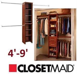NEW CLOSETMAID 4' TO 9' NARROW CLOSET KIT  4 FEET-9 FEET NARROW CLOSET KIT 77084219