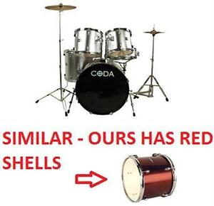 NEW CODA 5 PIECE DRUM SET - RED 5 PIECE KIT - DRUMS MUSIC STAGE BEAT MUSICAL INSTRUMENT PERCUSSION  79623082