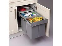 Pull Out Kitchen Waste/Recycle Soft Close Bin for 400mm Cabinet - Hinged Door Unit (20L + 20L)