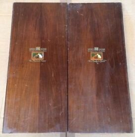 ANTIQUE WOODEN PANELS PROBABLY MAHOGANY 'HIS MASTER'S VOICE' FROM MUSICAL ITEM - SITUATED AT EX12
