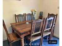 Dinning table and chairs matching side cabinet, cd rack