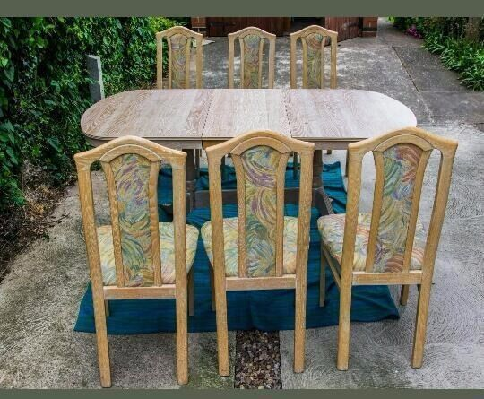 Fabulous Ash colour extending dining table & 6 Matching chairs - Can Deliver