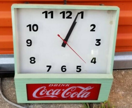 1950s Vintage Coca Cola Store Display Sign Clock Advertising
