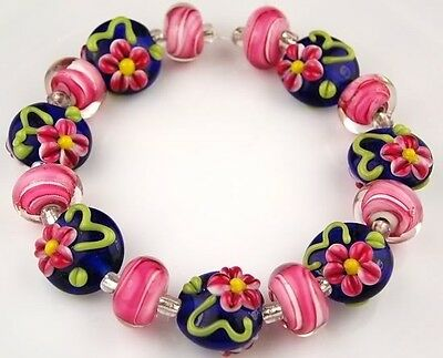 15 Lampwork Handmade Glass Beads Cobalt Blue Pink Flower Loose Rondelle -