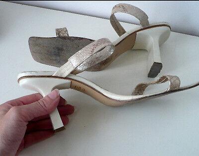 mules sandales en cuir beige serpent nacré talon élégant et confortable 37
