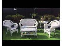 White wicker conservatory set