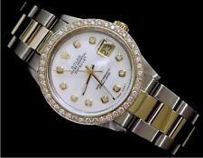 Rolex Datejust Mens 2Tone 18K Yellow Gold & Steel Watch White MOP Diamond 16013