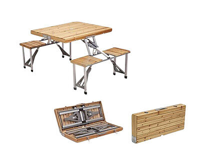 Wood Folding Picnic Table Indoor Outdoor Picnic Portable Camping Table w Chairs
