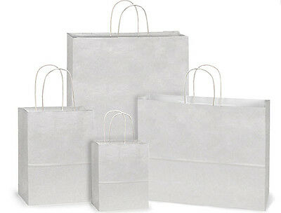 Paper Bags Wholesale (125 White Kraft paper shopping bags assortment high quality wholesale)