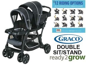 NEW GRACO READY 2GROW CLICK CONNECT STAND AND RIDE DOUBLE STROLL